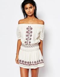 Платье с вышивкой и открытыми плечами Tularosa Marietta