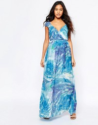 Платье макси с акварельным принтом Traffic People Silk Blessings