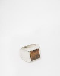 Кольцо с камнем тигровый глаз ASOS - Шлифованный серебряный