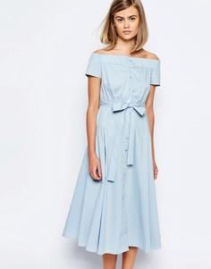 Платье миди на пуговицах с открытыми плечами Lost Ink
