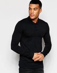 Облегающее черное поло с длинными рукавами ASOS - Черный