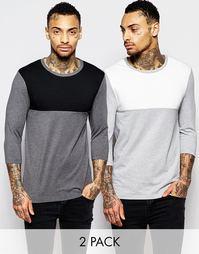 2 футболки с рукавами 3/4 и контрастной кокеткой ASOS - Серый