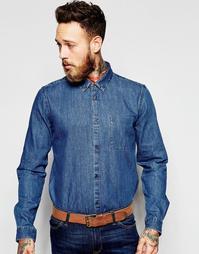 Синяя джинсовая рубашка классического кроя Dr Denim Mick