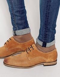 Кожаные туфли с плетеной отделкой Selected Homme Bolton - Коричневый