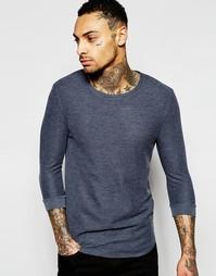 Синяя футболка из вафельного трикотажа с рукавами 3/4 ASOS