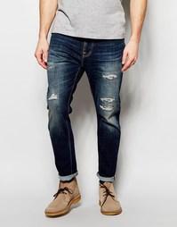 Темные суженные книзу джинсы Nudie Jeans - Blue reed (синий)