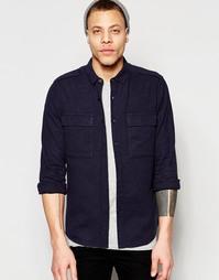 Темно-синяя рубашка в стиле милитари из смешанного льна с длинными рук Asos