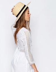 Соломенная шляпа с бантом ASOS - Естественный