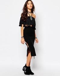 Фестивальная юбка макси со шнуровкой по бокам Lira - Черный