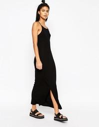 Платье макси в рубчик с высоким воротом в стиле 90-х ASOS - Черный