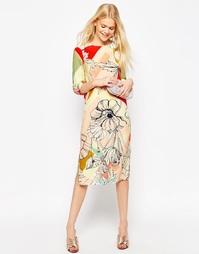 Цельнокройное платье с цветочным принтом и длинными рукавами ASOS