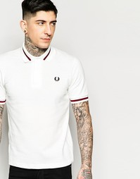 Белая футболка‑поло с контрастной отделкой Fred Perry Laurel Wreath