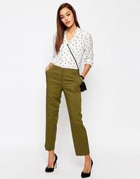 Зауженные брюки с классической талией ASOS - Оливковый