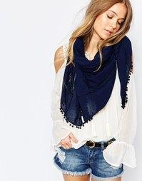 Oversize-шарф с отделкой помпонами Pieces - Темно-синий