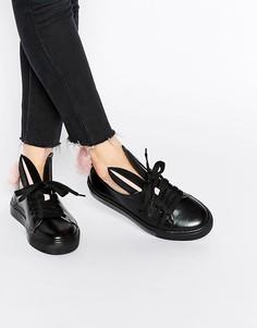 Черные кожаные кроссовки с кроличьими ушками и хвостиком Minna Parikka