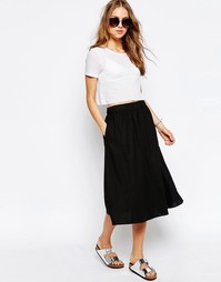 Пышная льняная юбка миди ASOS - Черный