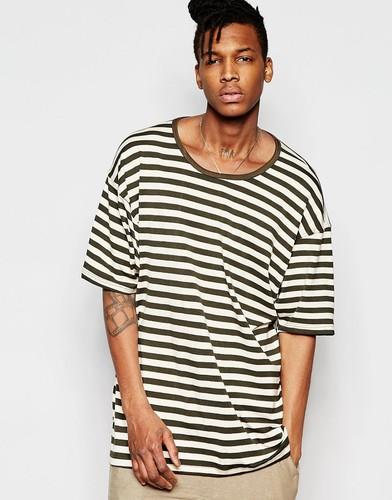 Oversize-футболка в полоску с заниженной линией плеч Other UK