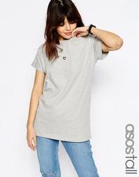 Oversize-футболка с вышитым сердцем ASOS TALL - Серый меланж