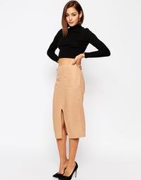 Льняная юбка-карандаш с карманами ASOS - Кэмел