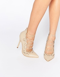 Туфли телесного цвета с каблуком и шнуровкой Public Desire Una