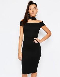 Платье с открытыми плечами и ленточкой на шее Missguided - Черный
