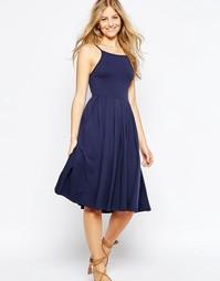 Платье миди с пышной юбкой ASOS - Темно-синий