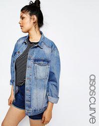 Умеренно выбеленная джинсовая куртка ASOS CURVE