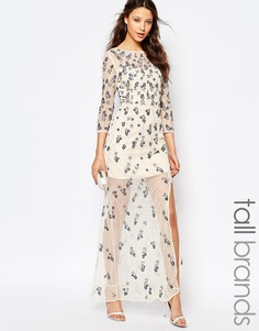 Декорированное платье макси с разрезом Maya Tall - Кремовый