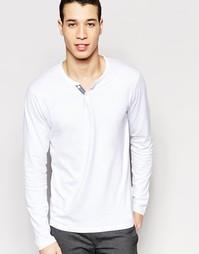 Хлопковая футболка на пуговицах с длинными рукавами Selected - Белый