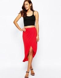 Трикотажная юбка-карандаш миди с запахом ASOS - Красный