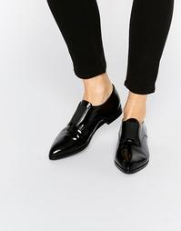 Черные туфли с острым носком и резинкой спереди Pieces Jasmina