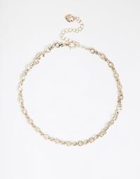 Короткое ожерелье со звеньями-сердечками Lipsy - Золотой