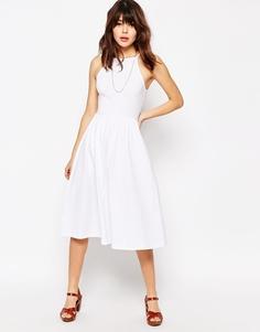 Платье миди с высокой горловиной в стиле 90-х ASOS - Белый