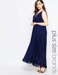 Двухслойное платье макси Boohoo Plus - Темно-синий