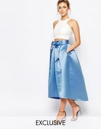 Атласная юбка миди с бантом спереди Closet - Нежно-голубой