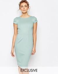 Платье-футляр миди с присборенными короткими рукавами Closet - Мятный
