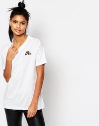 Футболка бойфренда с логотипом металлик Nike Air Force - Белый