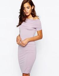 Платье миди со спущенными плечами ASOS Bardot - Пыльно-лиловый