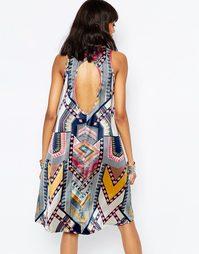 Атласное свободное асимметричное платье с вырезом сзади Brave Soul