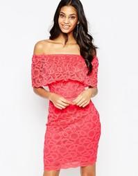 Кружевное платье с открытыми плечами Jessica Wright Jen - Коралловый