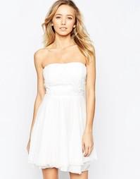 Платье для выпускного с отделкой кроше на лифе AX Paris - Кремовый