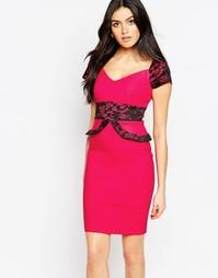 Платье миди c кружевной оборкой и рукавами Vesper Loretta