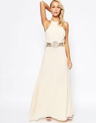 Платье макси с кружевной вставкой на талии Jarlo Aden - Кремовый