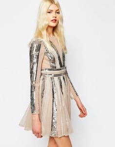 Короткое приталенное платье мини с пайетками ASOS