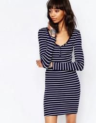 Трикотажное полосатое платье с длинными рукавами Brave Soul