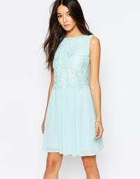 Короткое приталенное платье с кружевной отделкой Club L - Мятный