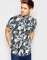 Рубашка с короткими рукавами и мраморным принтом Brave Soul - Черный