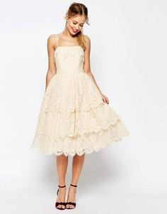 Кружевное платье миди для выпускного ASOS SALON - Кремовый