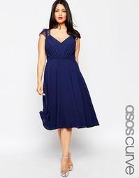 Платье миди с кружевными вставками ASOS CURVE Kate - Темно-синий