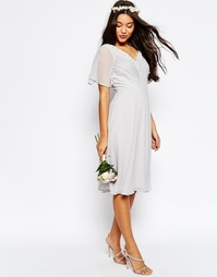 Платье миди с кружевом и отделкой плиссе ASOS WEDDING - Серый